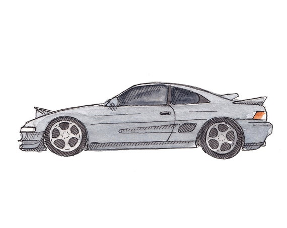 TOYOTA MR2 SPYDER - Sports Car, Classic Car Import, Drawing, Ink and Watercolor Painting, Art Print, Sketchbook, Drawn There
