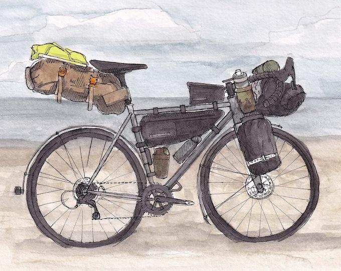 BIKEPACKING BIKE - Cross Country Bike Ride, Cycling, Camping, Gear, Niner, Drawing, Watercolor Painting, Sketchbook, Art, Print, Drawn There