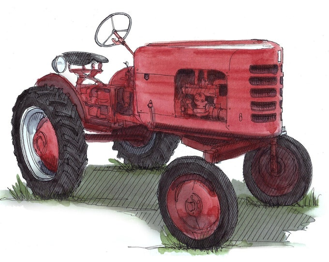 RED EARTHMASTER TRACTOR - Vintage, Classic Machinery, Farm, Farming, Ink and Watercolor, Painting, Drawing, Sketchbook, Drawn There