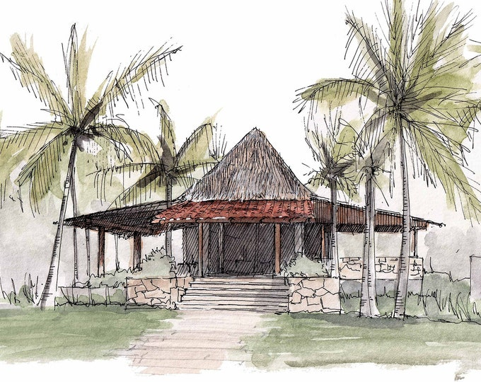 PLAYA DEL CARMEN - Thatched Roof, Architecture, Tropical, Building, Palm Trees, Drawing, Watercolor, Sketchbook, Art, Print, Drawn There