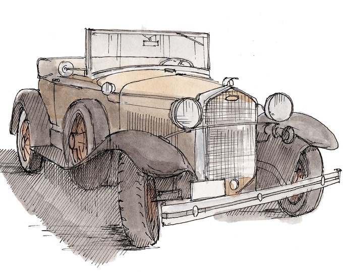 1931 FORD MODEL A Vintage Car - Classic Car, Drawing, Art, Ink and Watercolor, Painting, Art Print, History, Drawn There
