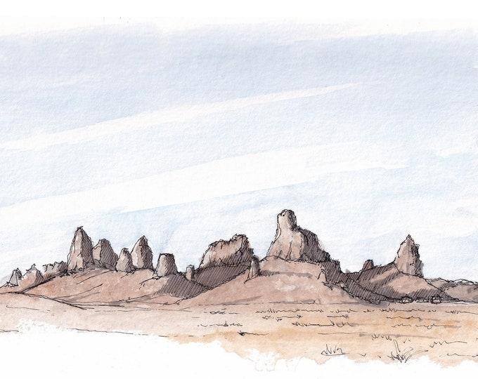 TRONA PINNACLES - California Tufa Spires, Mohave Desert Landscape Painting, Plein Air Ink & Watercolor Drawing, Art, Sketchbook Drawn There