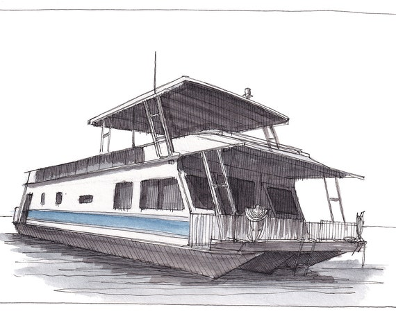 LAKE POWELL HOUSEBOAT - Arizona, Utah, Glen Canyon, Boating, Antelope Point, Ink and Watercolor Painting, Drawing, Art, Drawn There