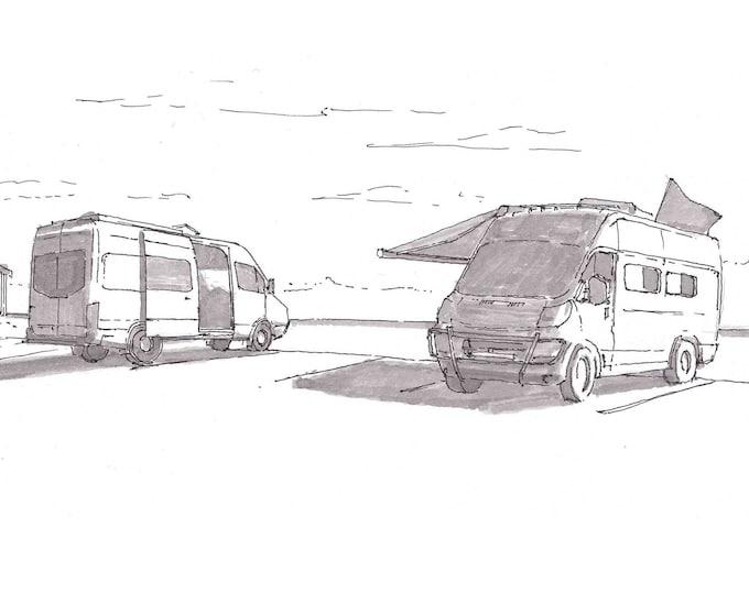 CAMPER VANS - VanThere, BlackPearlTravato, Vanlife, Campervan, Roadtrip, Pen and Ink, Drawing, Sketchbook, Art Print, Drawn There