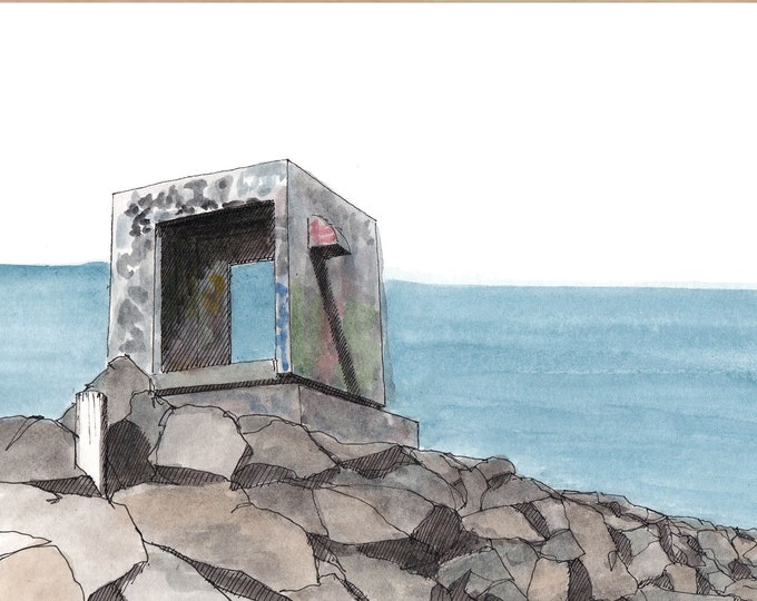 ABANDONED BUILDING on JETTY - San Diego, Architecture, Graffiti, California, Art, Watercolor, Painting, Drawing, Sketchbook, Drawn There