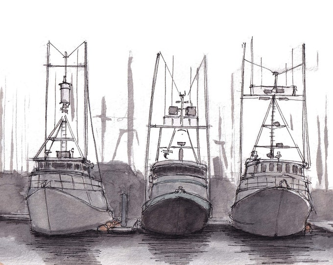 COMMERCIAL FISHING BOATS - Tuna Harbor, San Diego, California, Ocean, Sea, Ink and Watercolor Painting, Sketchbook Art Print, Drawn There