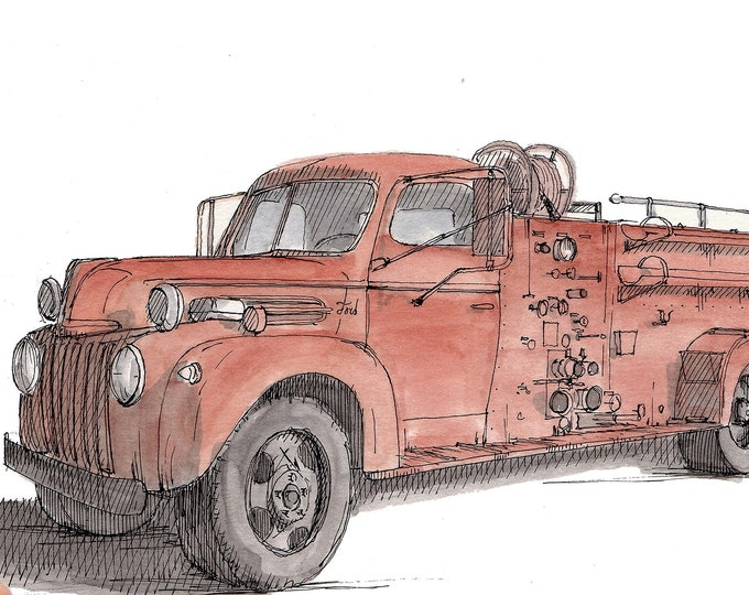 VINTAGE FIRE TRUCK - Firefighter, Wildfire, Drawing, Pen and Ink, Watercolor, Painting, Sketchbook, Art, Drawn There