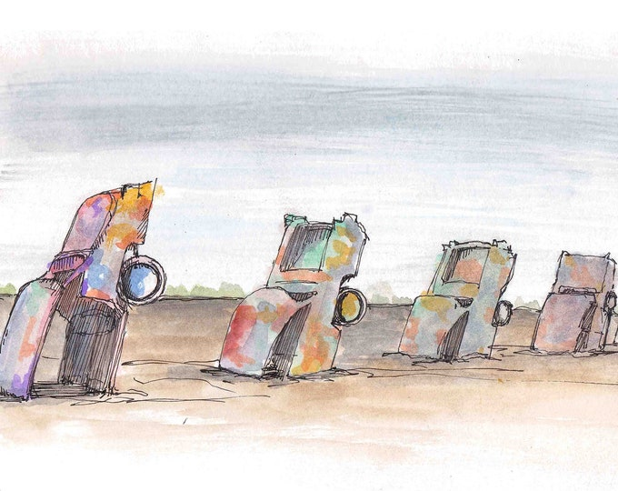 CADILLAC RANCH - Amarillo, Texas, Route 66, Roadside Attraction, Cars, Drawing, Watercolor, Painting, Sketchbook, Art, Drawn There