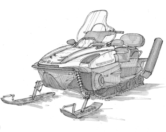 SNOWMACHINE SNOWMOBILE POLARIS - Ski-Doo, Winter, Snow, Ski Patrol, Pen and Ink, Drawing, Sketchbook, Drawn There
