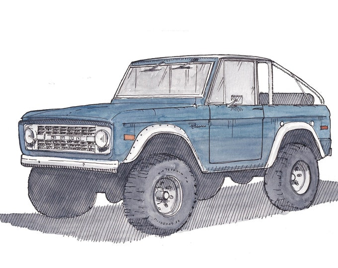 FORD BRONCO CONVERTIBLE -  Soft Top, Classic Truck, 4x4, Off-Road, Drawing, Pen and Ink, Watercolor, Painting, Sketchbook, Art, Drawn There