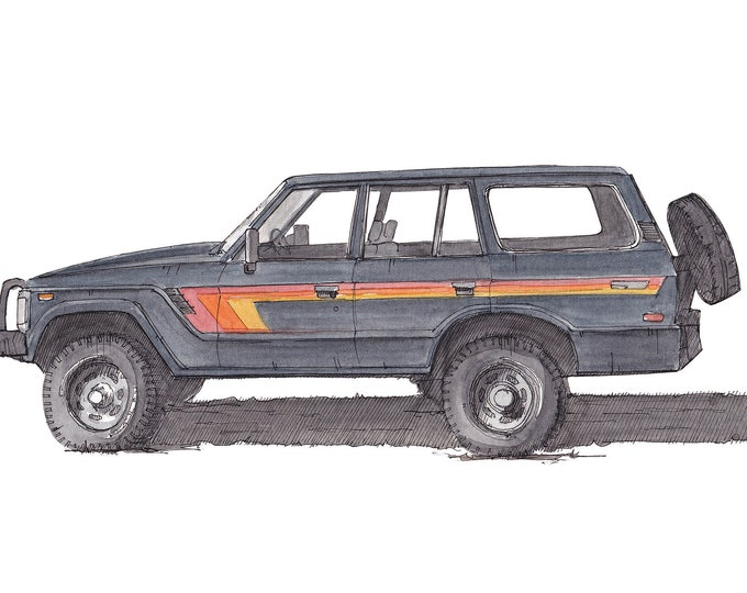 TOYOTA LAND CRUISER - 1980's, Off-Road, 4x4, Classic Truck, Ink & Watercolor Drawing, Painting, Art Print, Drawn There