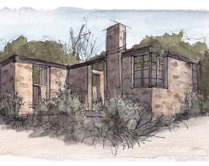 STONE BUILDING RUINS - Sycamore Canyon Fire, Santee, San Diego, California, Architecture, Watercolor Painting, Drawing, Art, Drawn There