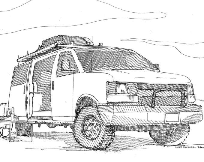 GMC VAN - Camper, Vanlife, Roadtrip, Camping, Nomad, Drawing, Line Drawing, Pen and Ink, Sketchbook, Art, Print, Drawn There