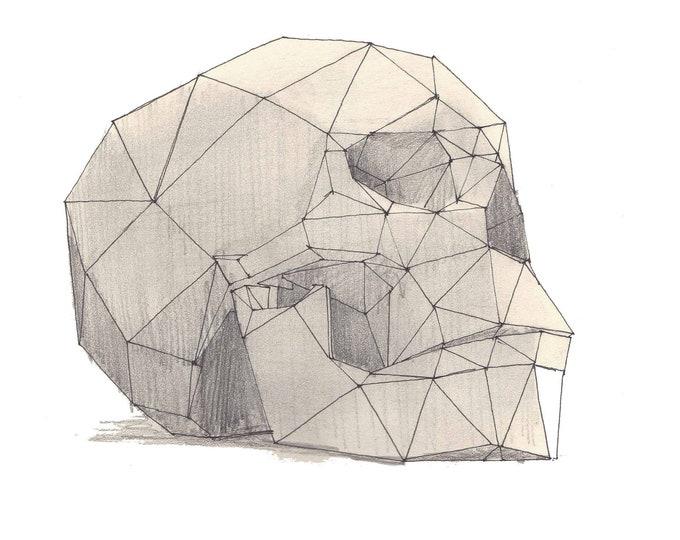 BLACK ROCK CITY - Geometric Human Skull, Interactive Sculpture, Playa, Art, Drawing, Pen and Ink, Sketchbook, Print, Drawn There