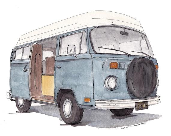 VINTAGE VW BUS - Joybus, Volkswagen, Van, Vanlife, Classic, Car, Plein Air Watercolor Painting, Drawing, Art Print, Drawn There