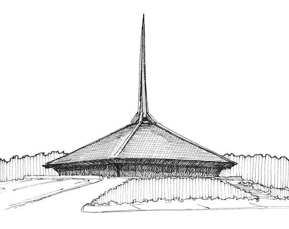 COLUMBUS INDIANA ARCHITECTURE - North Christian Church, Eero Saarinen, Mid-Century Desgin, Ink Drawing, Sketchbook, Art Print, Drawn There