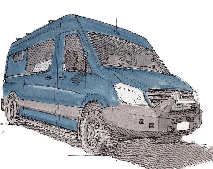 SPRINTER VAN with Off-Road Bumper - Mercedes Sprinter, Vanlife, Van.There, Drawing, Painting, Watercolor, Sketchbook, Drawn There