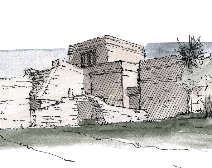 TULUM TEMPLE RUINS - Mayan Architecture, Stone, Quintanaroo, Drawing, Watercolor, Painting, Sketchbook, Art, Print, Drawn There