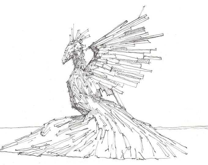 BLACK ROCK CITY - Phoenix, Bird, Sculpture, Radical Ritual, Pen and Ink, Drawing, Art, Print, Sketchbook, Drawn There
