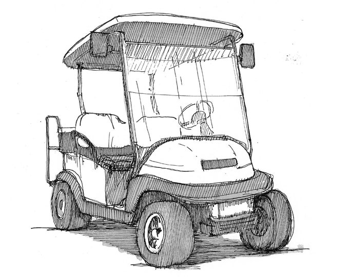 GOLF CART - Club Car, Alternative Transportation, Pen and Ink, Line Drawing, Black and White, Art Print, Drawn There