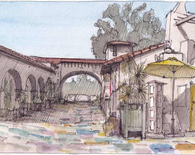 SPANISH VILLAGE Old Town San Diego - California, Spanish Architecture, Plein Air Ink and Watercolor Painting, Drawing, Art, Drawn There