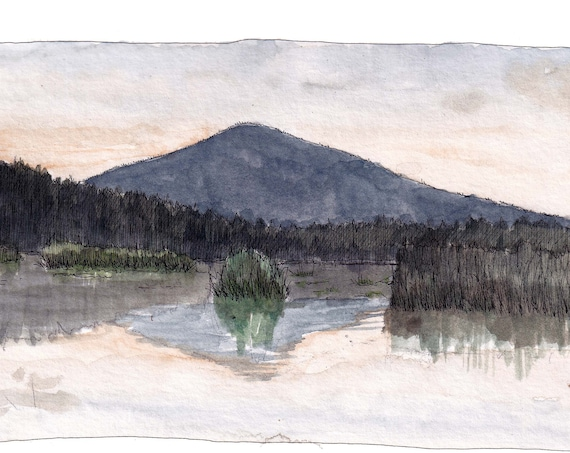 UPPER KLAMATH LAKE - Oregon, Sunset, Mountain, pnw, Ink and Watercolor Plein Air Landscape Painting, Drawing, Art, Sketchbook, Drawn There