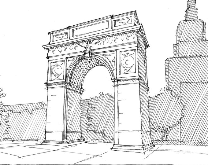 WASHINGTON SQUARE PARK - Arch, New York City, nyc, Greenwich Village, Urbansketcher, Pen and Ink Sketch, Drawing, Art, Drawn There