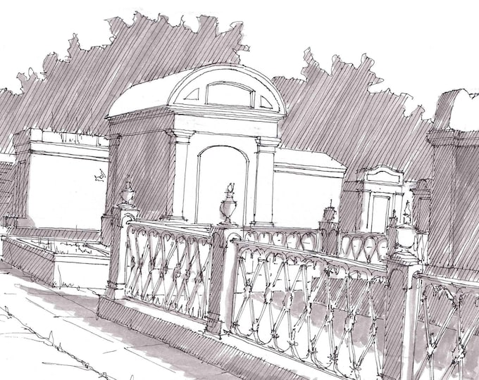 LAFAYETTE CEMETERY in New Orleans, Louisiana - Ink Drawing, Sketch, Black and White, Historic, Art, Pen and Ink, Sketchbook, Drawn There
