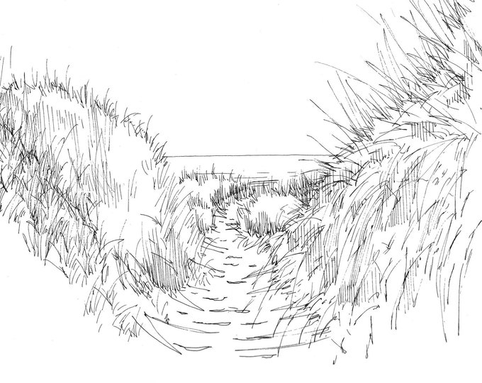 GRASSY DUNES on BEACH - Ocean, Pacific Northwest, Pen and Ink, Drawing, Sketch, Art Print, Drawn There