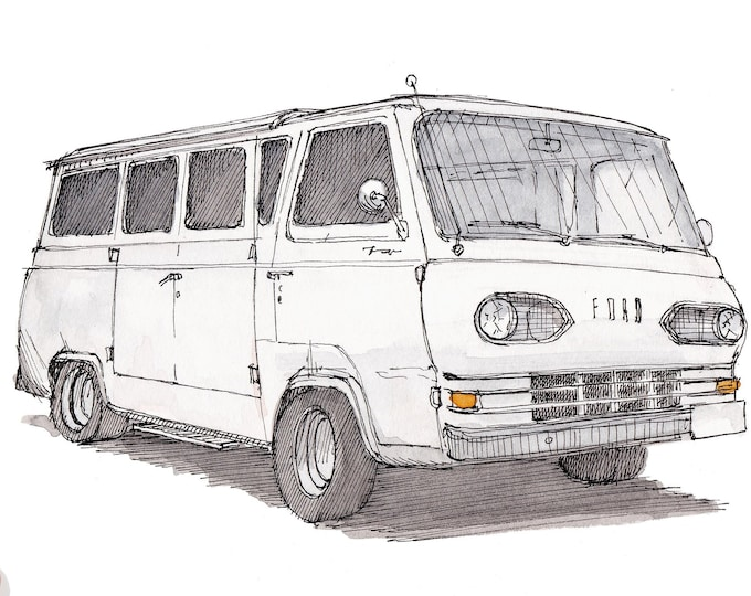 FORD ECONOLINE FALCON - 1960's, Classic, Vintage, Van, Vanlife, Campervan, Art, Watercolor, Painting, Drawing, Sketchbook, Drawn There