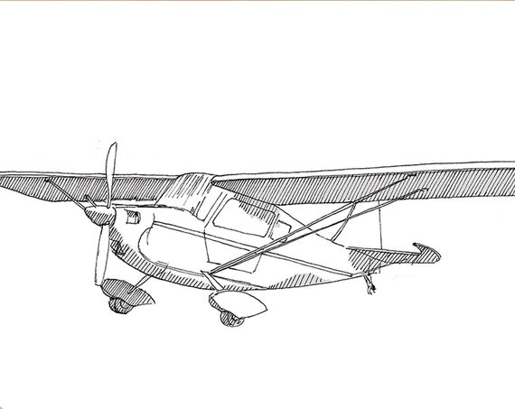 CITABRIA 7KCAB AIRPLANE - Plane, Fly, Travel, Flight, Ink Drawing, Line Drawing, Art, Print, Drawn There