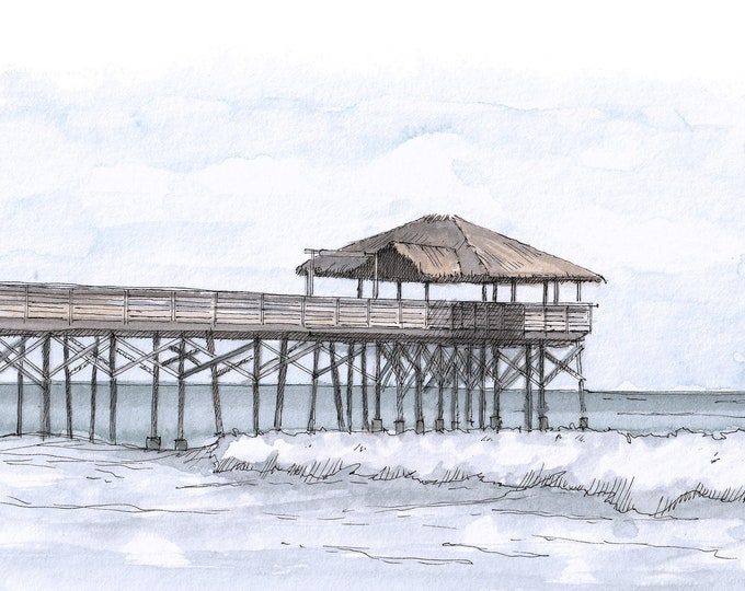 COCOA BEACH PIER - Florida, Ocean, Space Coast, Waves, Ink Drawing, Watercolor Painting, Sketchbook, Art, Drawn There