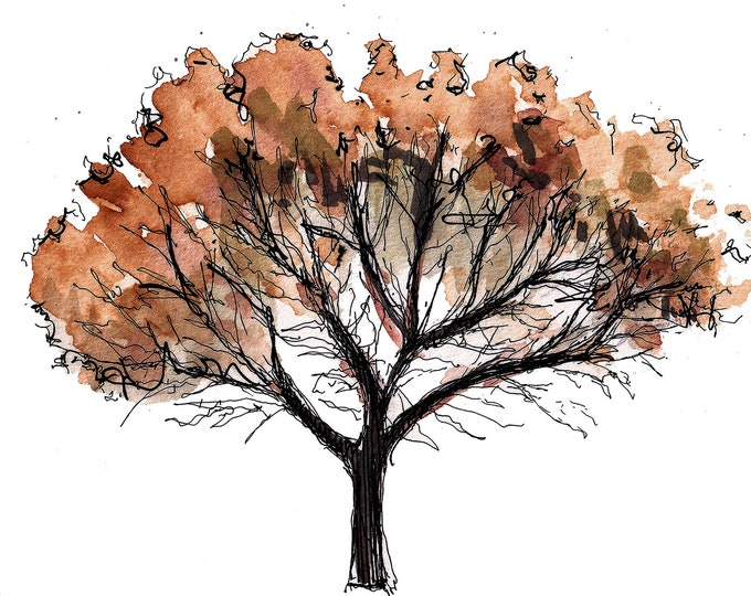 TREE with FALL COLORS - Leaves, Autumn, Brown, Red, Orange, Nature, Seasons, Drawing, Ink and Watercolor, Painting, Art, Print, Drawn There