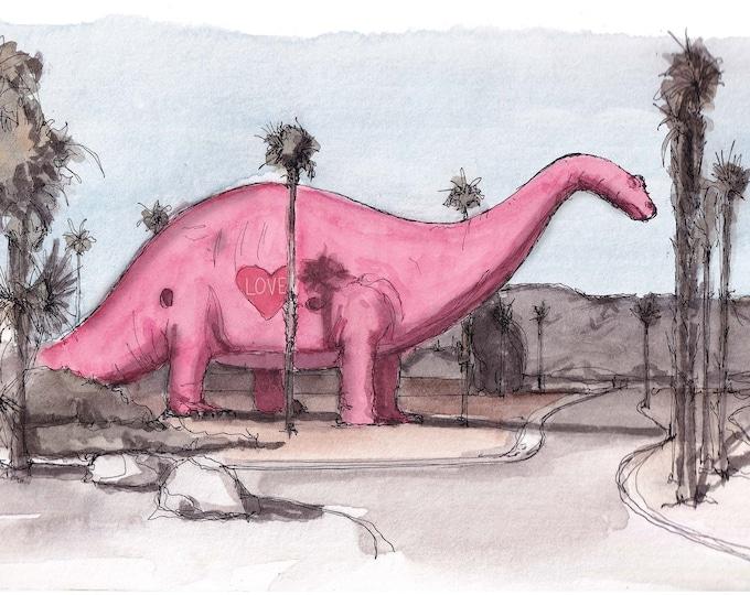 CABAZON I-10 DINOSAUR - Brontosaurus, Sculpture, Pink, Public Art, California, Ink and Watercolor Painting, Drawing, Art Print, Drawn There