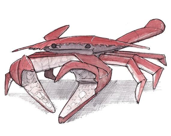 MARYLAND CRAB - Sea Food, Animal, Baltimore, Old Bay, Chesapeake Bay, Ink and Watercolor Painting, Sketchbook, Art Print, Drawn There