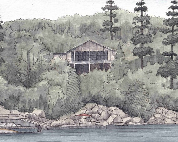 LAKE HOUSE and TREES - Cabin, Boating, Boat, Vacation, Ink & Watercolor Painting, Drawing, Art, Custom, Drawn There