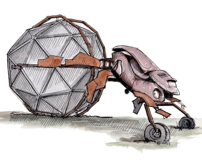 VW DUNG BEETLE - Sculpture, Volkswagen Beetle, Kinetic, Burning Man, Art, Drawing, Watercolor Painting, Sketchbook, Print, Drawn There