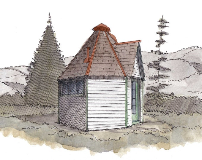 TUBERCULOSIS QUARANTINE HUT -  Colorado Springs, Tiny House, Mountains, Drawing, Watercolor, Painting, Sketchbook, Art, Print, Drawn There