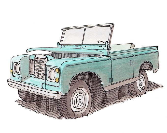 CLASSIC LAND ROVER - Truck, Vintage, Car, Convertible, Off Road, 4x4, Teal, Drawing, Watercolor Painting, Sketchbook, Art, Drawn There