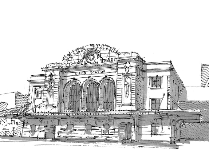 UNION STATION DENVER - Train, Travel, Architecture, Colorado, Beaux Arts, Pen and Ink, Drawing, Sketchbook, Art, Drawn There