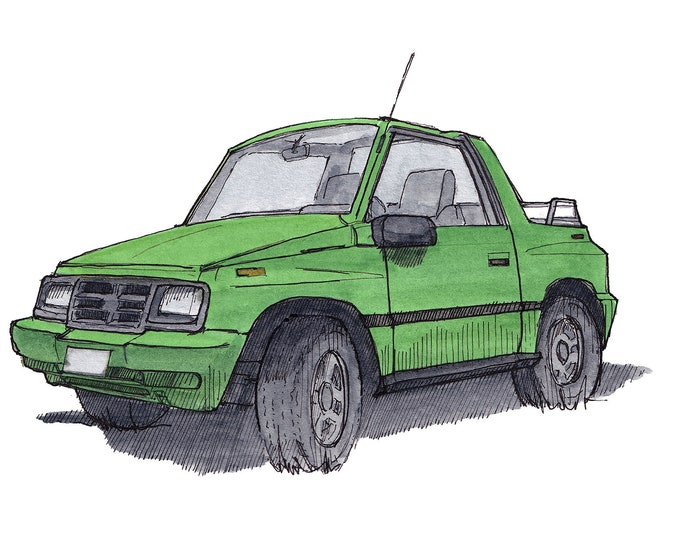 GEO TRACKER - Lime Green, 4x4, Off Road, SUV, Jeep, Suzuki, Convertible, Drawing, Watercolor, Painting, Sketchbook, Art, Print, Drawn There