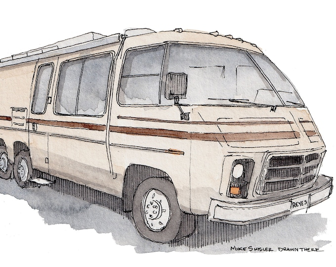 VINTAGE GMC RV - Recreational Vehicle, Vanlife, Camper, Roadtrip, Camping, Drawing, Painting, Watercolor, Sketchbook, Art, Drawn There