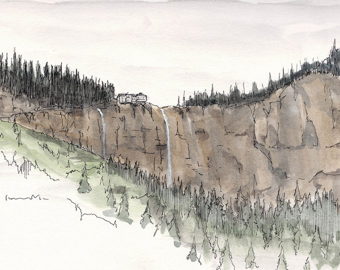 TELLURIDE COLORADO WATERFALL - Hiking, Mountains, Hydroelectric, Pen and Ink, Drawing, Watercolor, Painting, Sketchbook, Drawn There