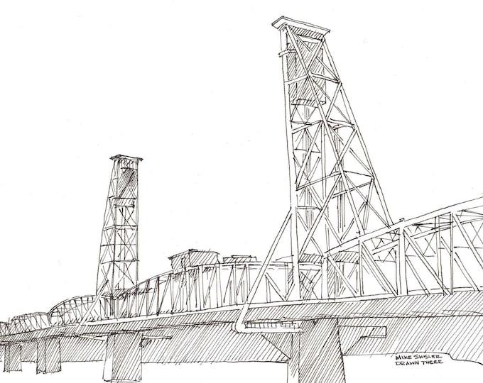 PORTLAND BRIDGES 4-PACK - Pen and Ink, Drawing, Sketchbook, Art Prints, Engineering, Hawthorne, Broadway, St. John's , Tilikum, Drawn There
