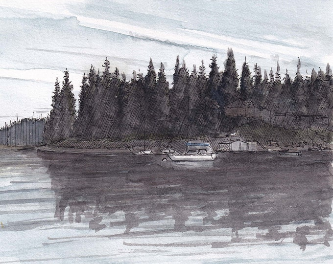 FOX ISLAND, WASHINGTON - Pacific Northwest, Puget Sound, Tacoma, Ink Drawing, Watercolor Painting, Sketchbook, Art, Plein Air, Drawn There