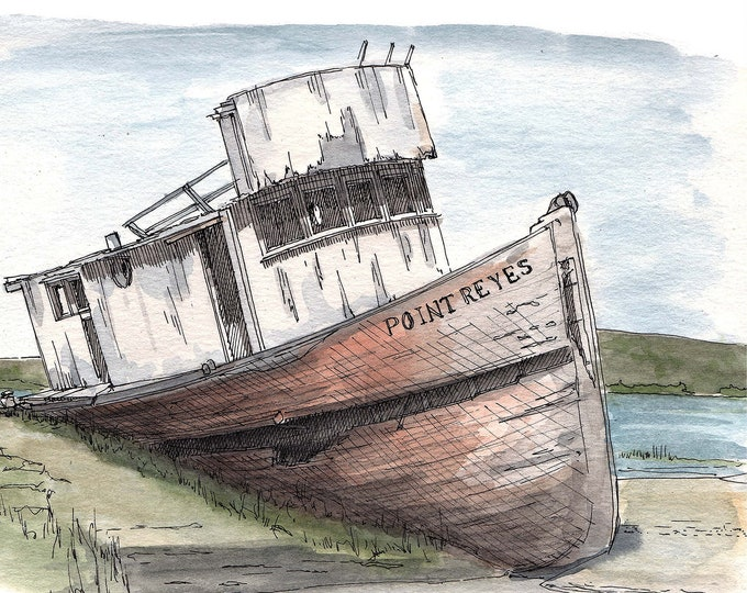 POINT REYES SHIPWRECK - Wooden Boat, Abandoned, Decay, California, Beach, Drawing, Watercolor, Painting, Sketchbook, Art, Drawn There