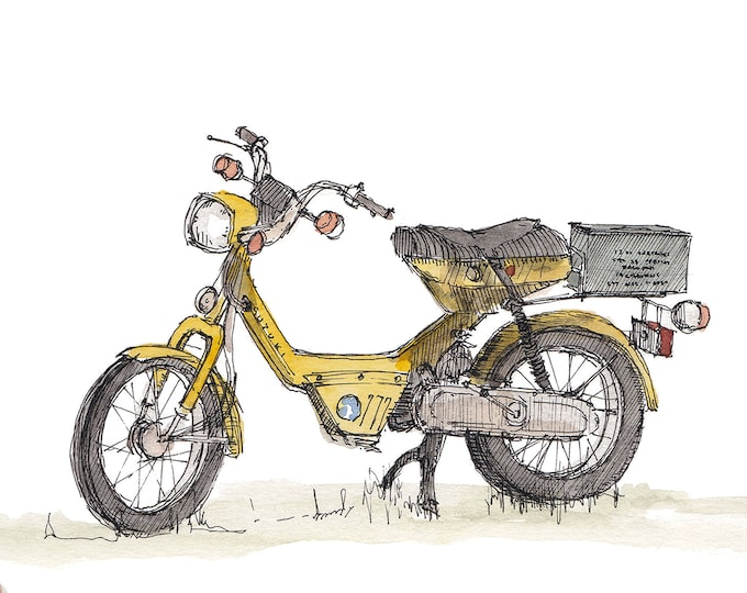 SUZUKI MOPED SCOOTER - Vintage, Classic, Yellow, 50cc, Drawing, Watercolor Painting, Sketchbook, Art, Drawn There