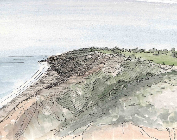 TORREY PINES GLIDERPORT - Coast, Cliff, Golf Course, Pacific Ocean, Beach, Drawing, Watercolor, Painting, Sketchbook, Art, Drawn There