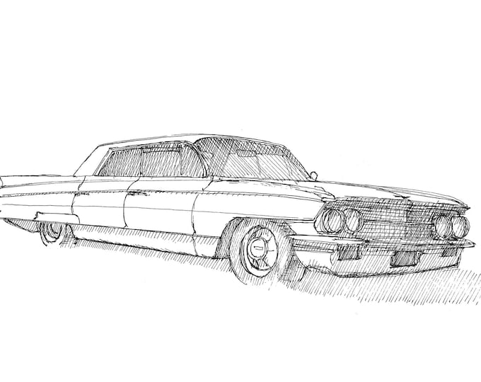CADILLAC DE VILLE - Classic Car, Ink Drawing, Watercolor Painting, Sketch, Sketchbook, Art, Drawn There
