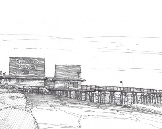 FLAGLER BEACH PIER - Florida, Ocean, Pen and Ink, Drawing, Sketchbook, Art, Line Drawing, Drawn There